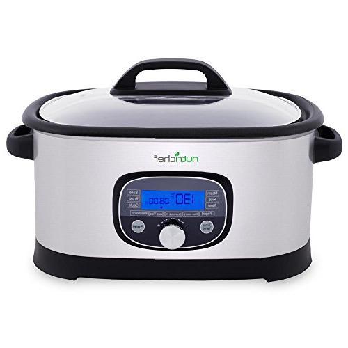 NutriChef Sous 1 Steamer Stainless Steel High-Pressure Multi Cooker Crock Pot w/ Digital Display, 11 Preset Modes, Vide Mode, - PKPC35