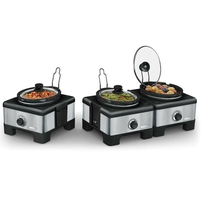 Bella Set of 3 Linkable 2.5-Quart Slow Cookers with Little D