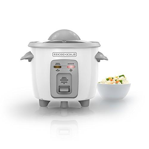 BLACK+DECKER RC3303 1.5-Cup Cooked Compact Rice Cooker, White