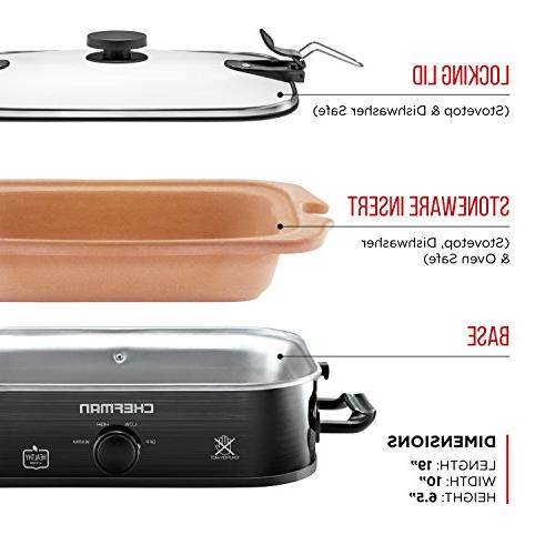 Chefman Natural Casserole Cooker with Locking Lid, Stoneware Crock Insert Stovetop, Oven and Safe,