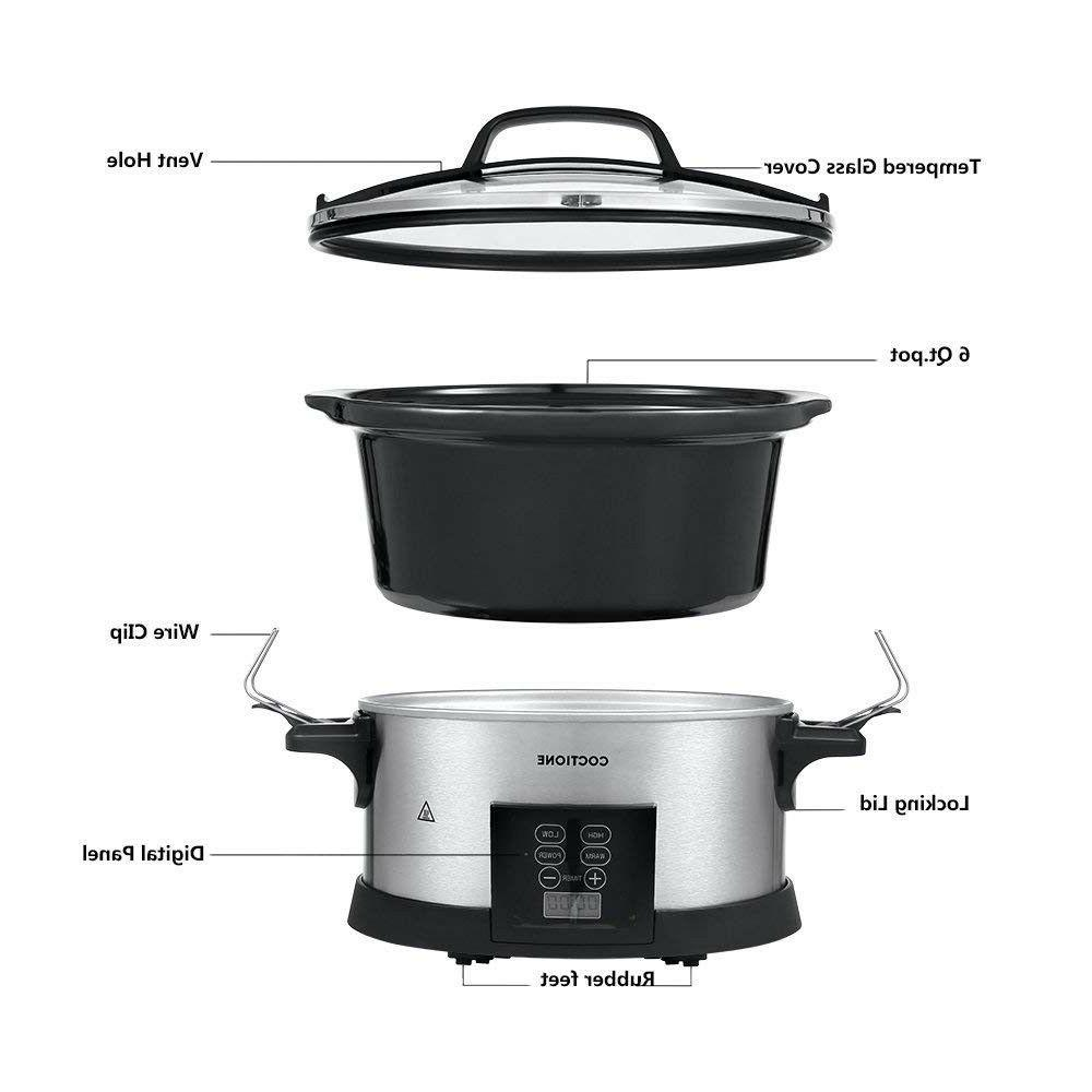 COCTIONE Quart Oval Cooker, Electric Programmable