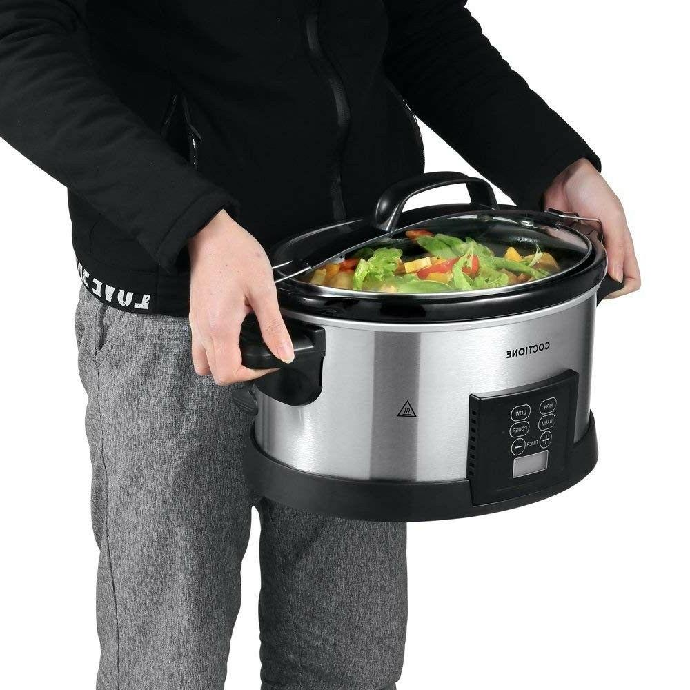 COCTIONE Slow Cooker 6 Quart Shaped Cooker, Electric