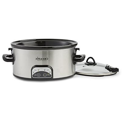 Crock-Pot 6-Quart Programmable & Carry Oval Cooker, Stainless