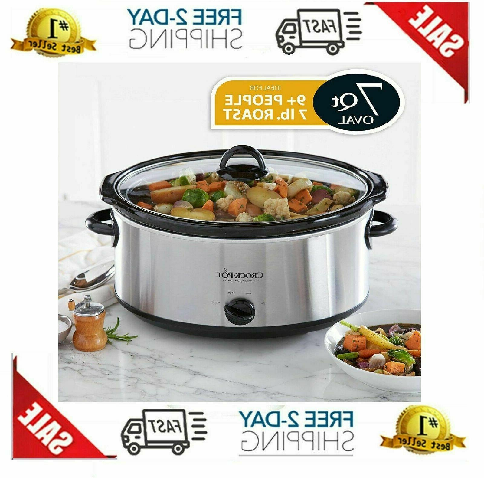 Crock-Pot Oval Slow Cooker | Stainless Steel