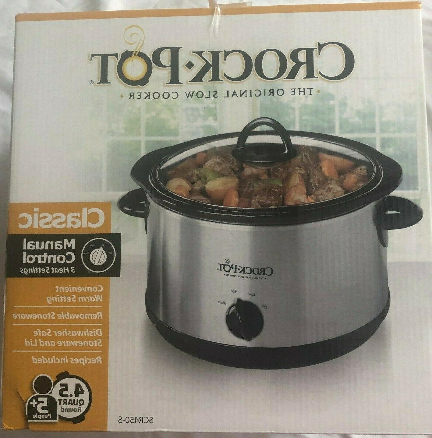 crock pot classic stainless steel manual slow