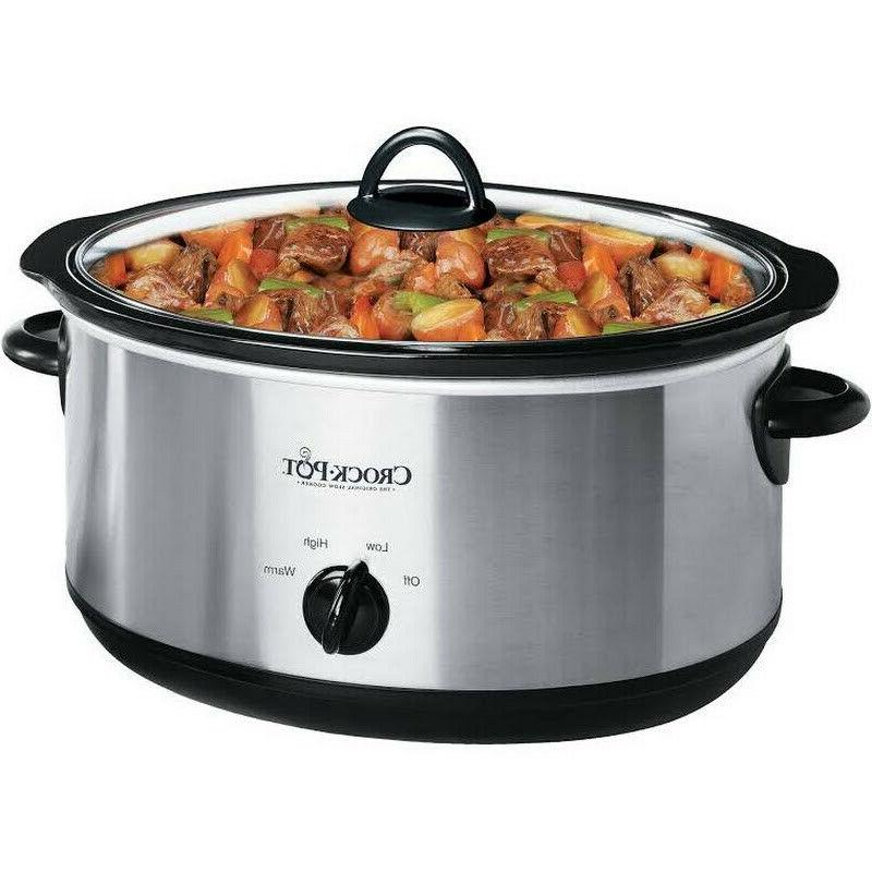 crock pot oval manual slow cooker stainless