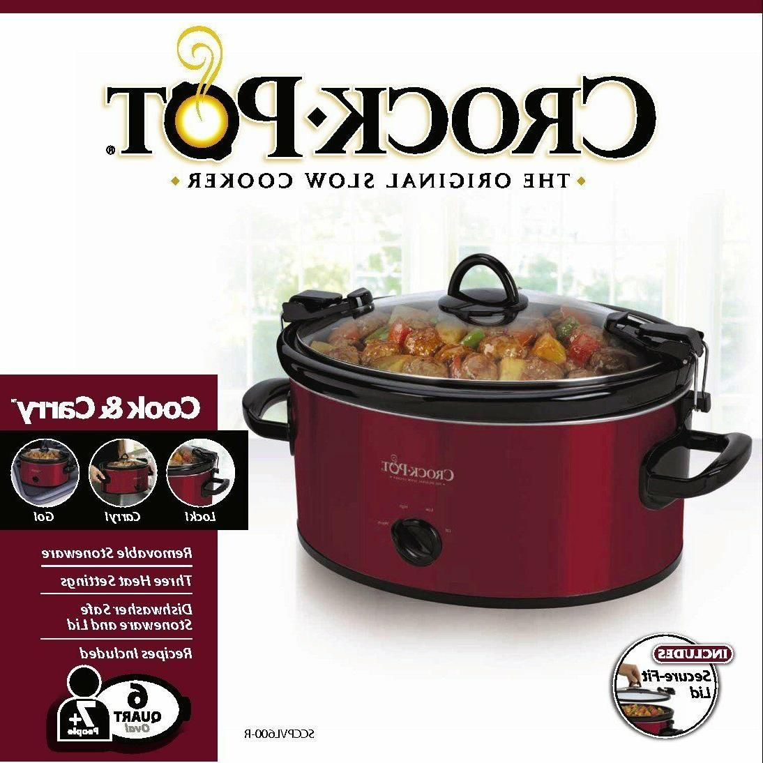 Crock-Pot SCCPVL600 Carry 6-Quart Oval Portable Slow Cooker,