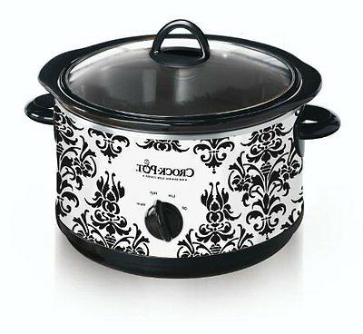 Crock Pot SCR450-PT 4-1/2-Quart Slow Cooker, Black Demask Pa