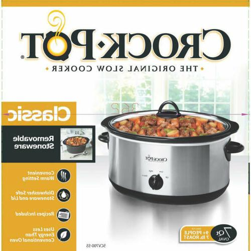 CROCK POT 7 Oval Manual Stainless