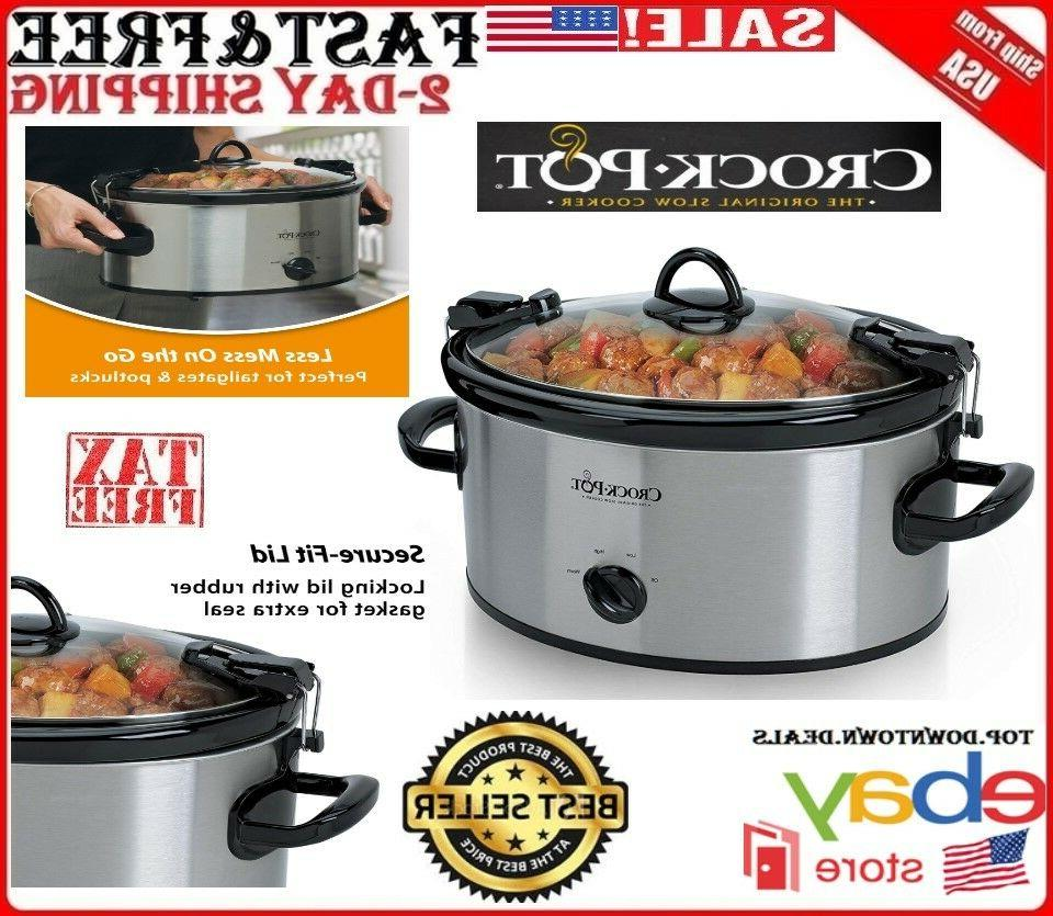 Crock-Pot Slow Cooker Large Oval 6 Quart Stainless Steel Man