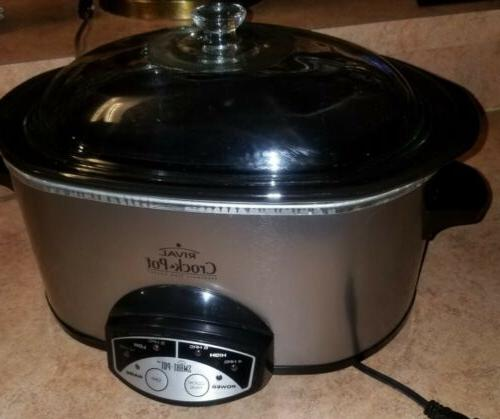 crock pot stoneware slow cooker 3860 silver