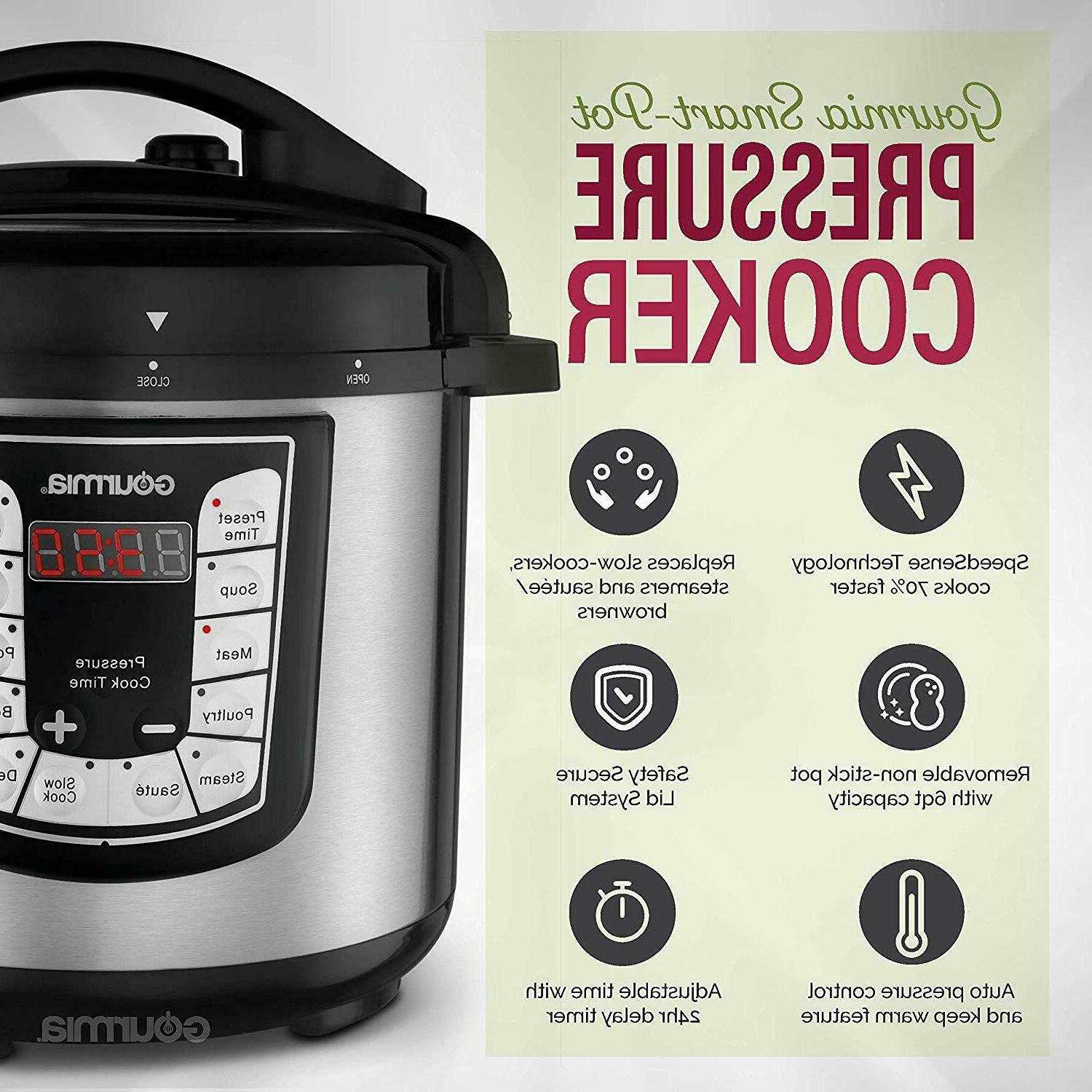 Gourmia GPC625 6 Qt 7-in-1 Programmable Pressure Cooker Slow Cooker