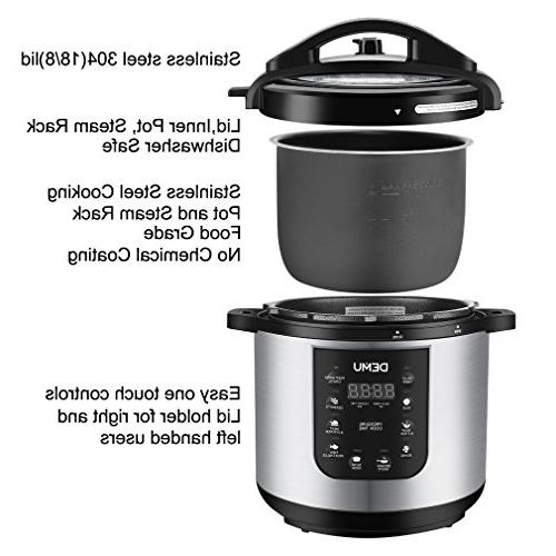 DEMU Pressure 7-in-1 Multi-Use Programmable Electric Cooker with Glass Lid Steam