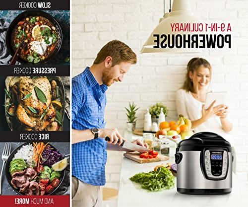 Chefman Qt. Electric Multicooker, 9-in-1 Programmable Cooker, Prepare Dishes in an Instant, Aluminum Multifunctional Cooker/Steamer, Maker