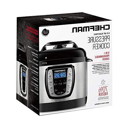 Chefman 2.5 Pressure Programmable Prepare Dishes Aluminum Pot Rice Cooker/Steamer,