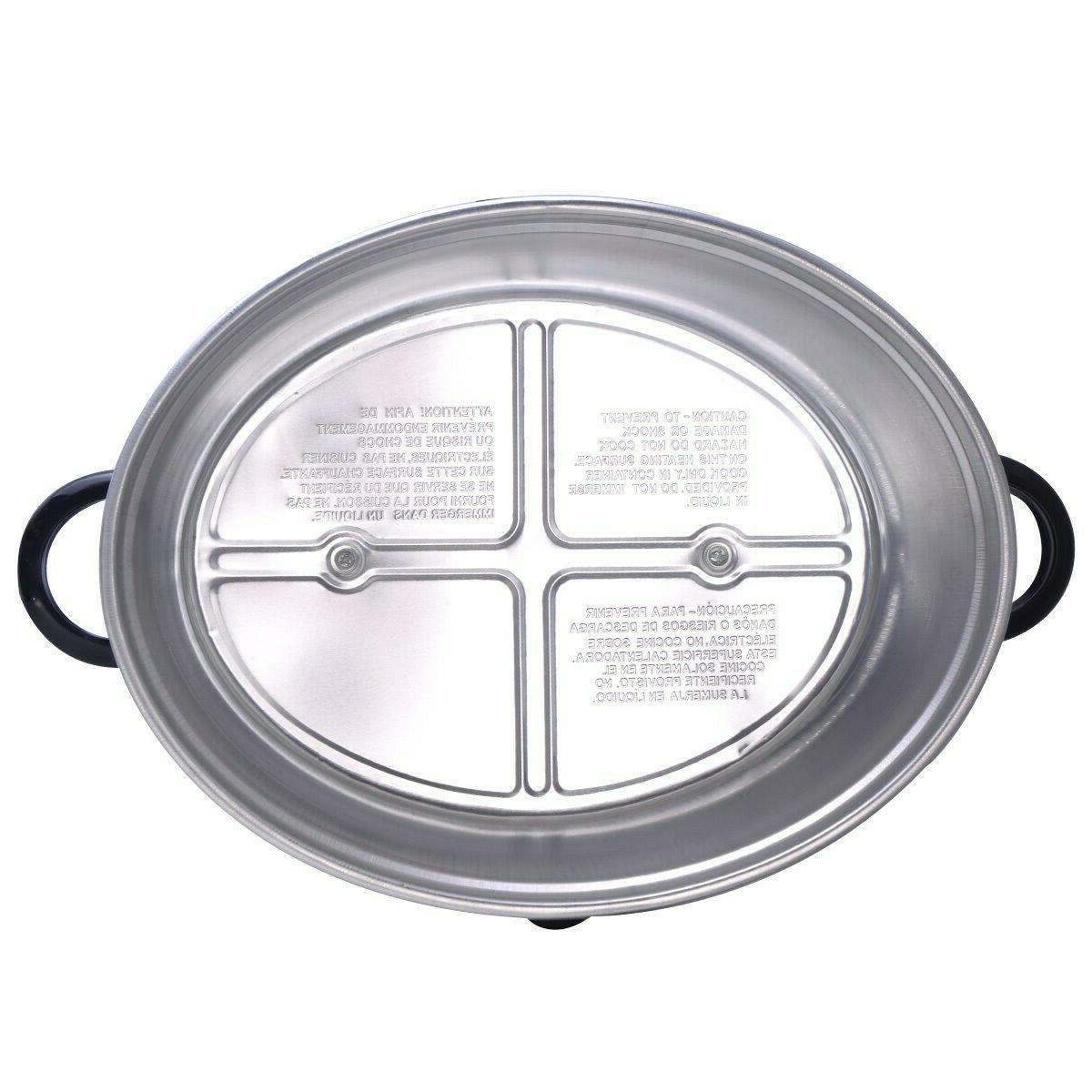 Electric Slow Cooker Shaped Stainless Steel Housing Glass QT