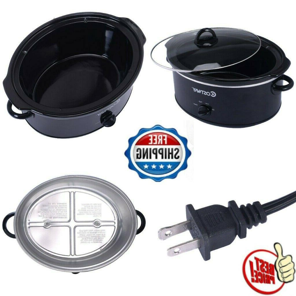 electric slow cooker oval shaped brushed stainless