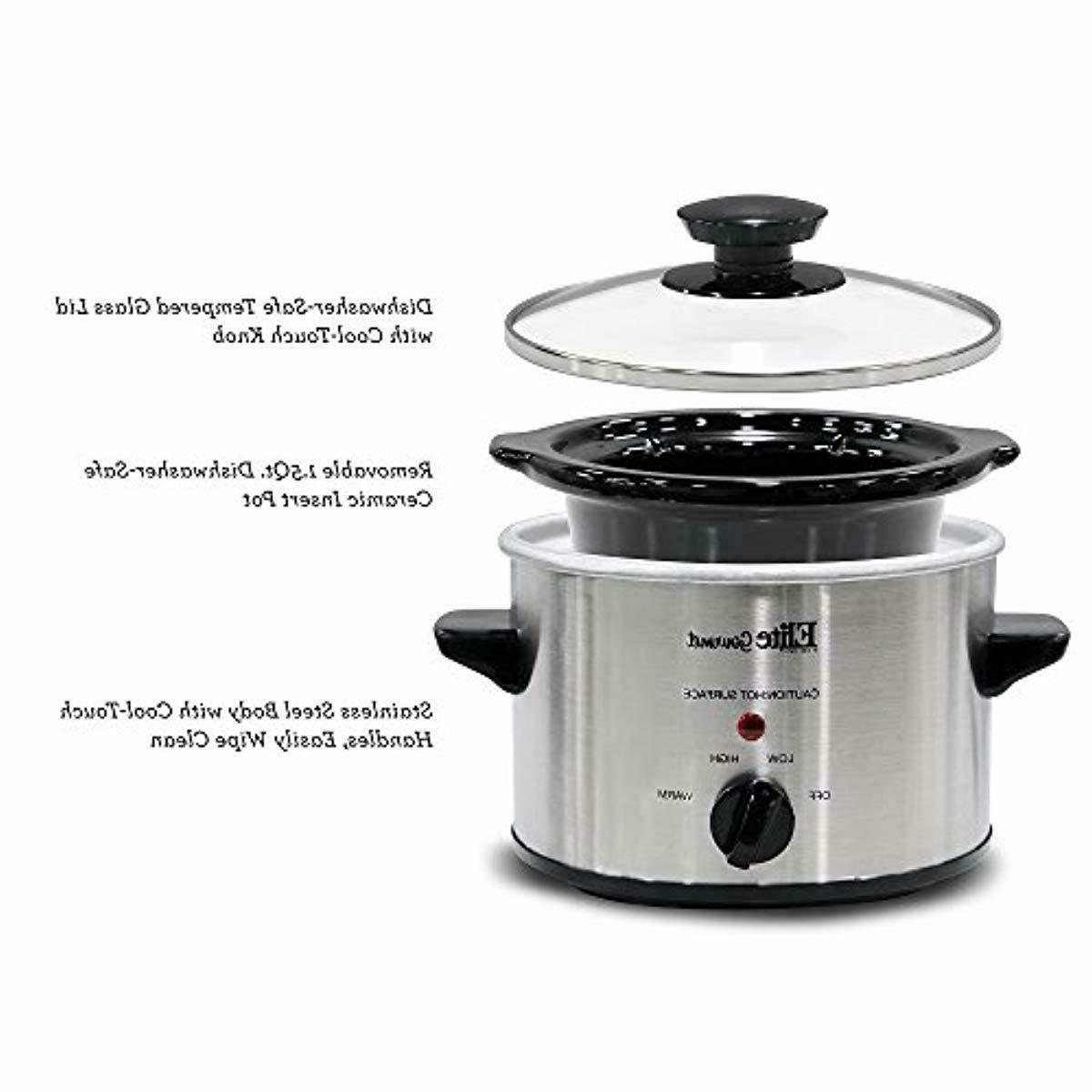 Electric Slow Crock Steel Cooking 1.5 Qt