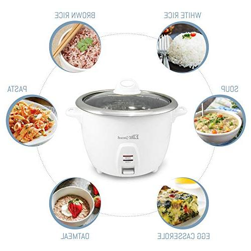 Elite Gourmet Electric Rice Cooker Steel Inner Makes Soups, Grains, 20 , Cups),