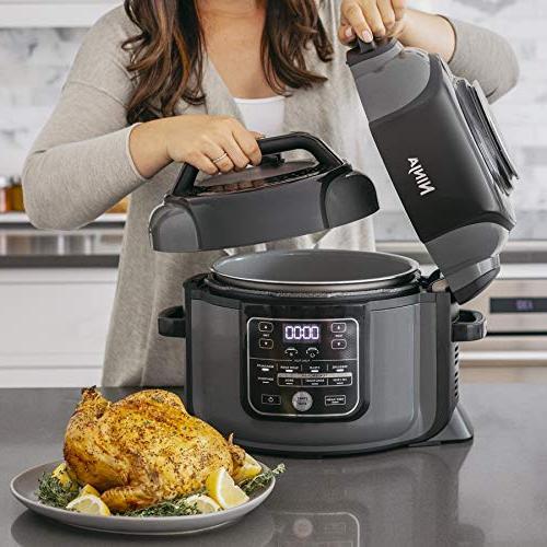 Ninja OP302 1400-Watt Programmable Fryer, Multi Slow Cooker w/TenderCrisp Pressure/Crisping Pot, 4 Fry Basket,