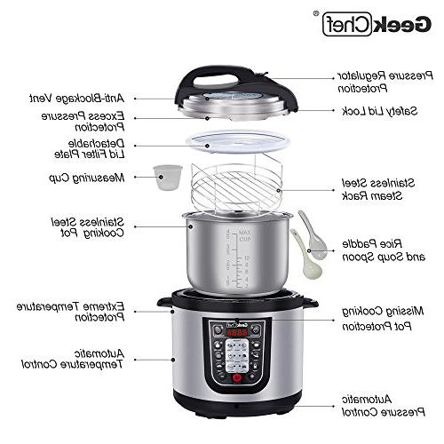 GeekChef 6QT Premium Programmable Stainless Steel Inner Pot,Sealing Ring and Recipe Book.