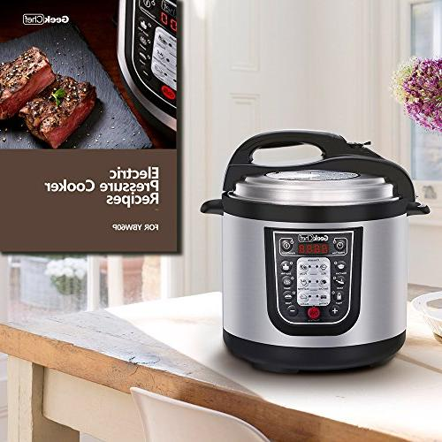 GeekChef Programmable Multi-Cooker1000W,Includes Stainless Steel Inner Pot,Sealing and Recipe
