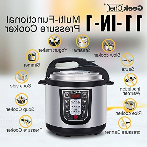 GeekChef 6QT Programmable Multi-Cooker1000W,Includes Inner Pot,Sealing Ring Recipe Book.