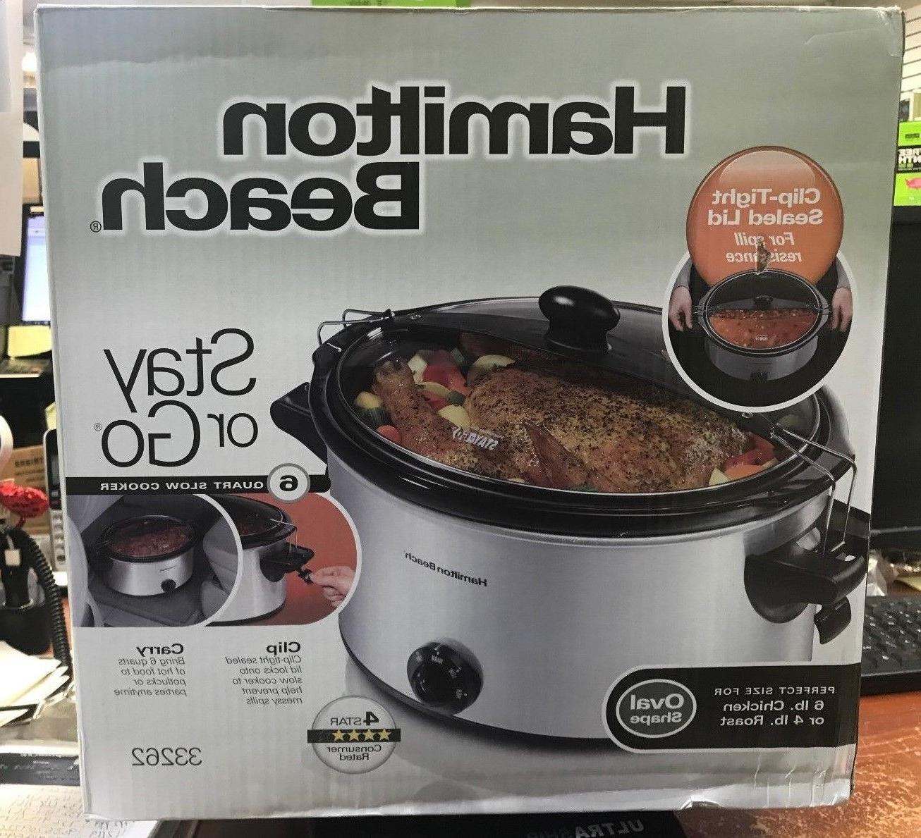 HAMILTON BEACH Stay-or-Go Slow Cooker, 6Qt. 33262