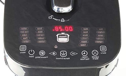 Healthy Cuisine 6 QT Electric Induction Heating Digital Pressure Cooker Basket LED Touch Menu - Premium