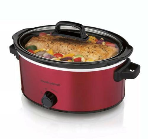 Hamilton Quart Red Cooker, Crock Cooking