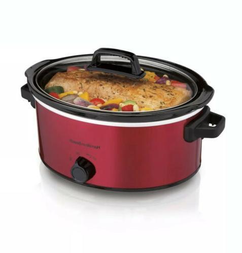 kitchen 6 quart red slow cooker crock