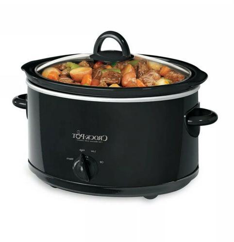 kitchen crock pot black 4 quart portable