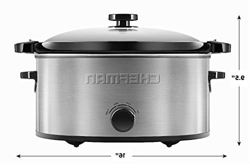 Chefman Locking Lid Slow Cooker Removable for Easy Capacity,