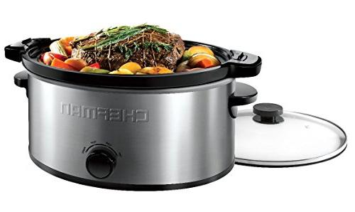Chefman Locking Lid Cooker Removable Easy Cleaning, 6 Capacity, Stainless