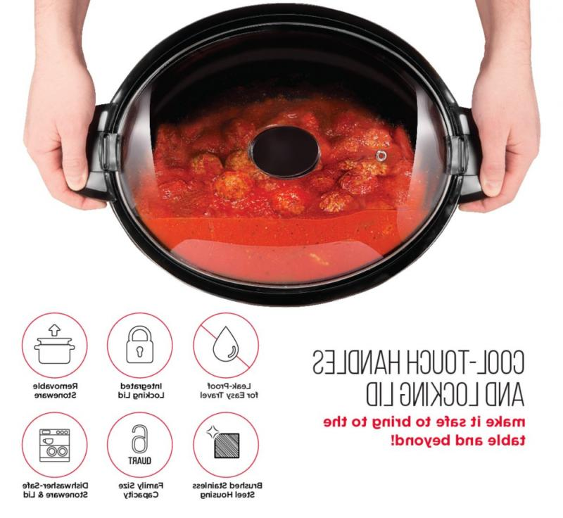 Chefman Locking Slow Cooker Removable Easy Cleaning, C