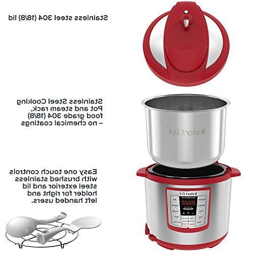 Instant Qt Red Programmable Pressure Cooker, Cooker, Rice Sauté, Steamer,