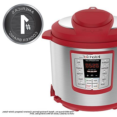 Instant Qt Red 6-in-1 Muti-Use Programmable Pressure Cooker, Slow Cooker, Rice Cooker, Steamer, Warmer
