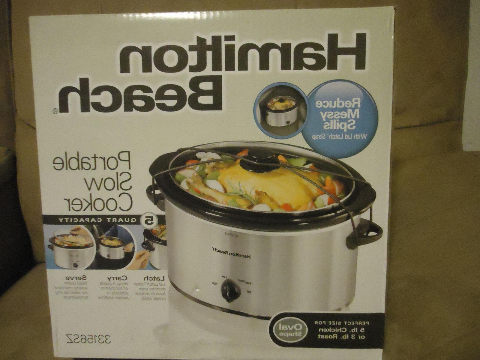 new slow cooker 5 quart oval silver