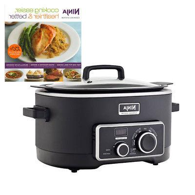 Ninja 6 Quart 3 In 1 Slow Cooker with 150 Recipe Book