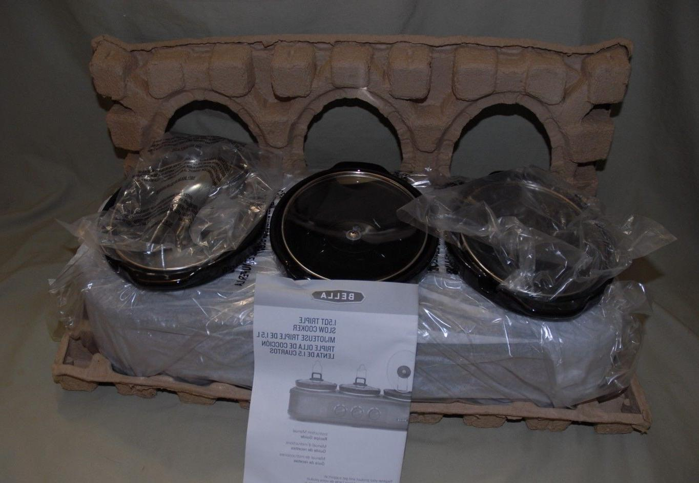 Bella Oval Triple Slow Cooker with Lid Rests, 1.5 - Quart,
