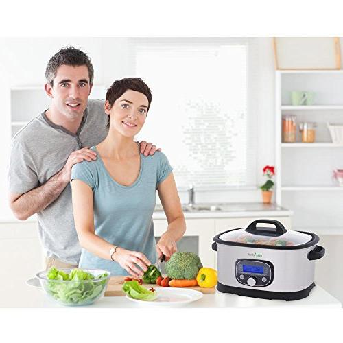 NutriChef Sous Vide Cooker - 11 1 Steamer High-Pressure Pot Display, 11 Modes, Sous Vide Mode, 6.5 PKPC35
