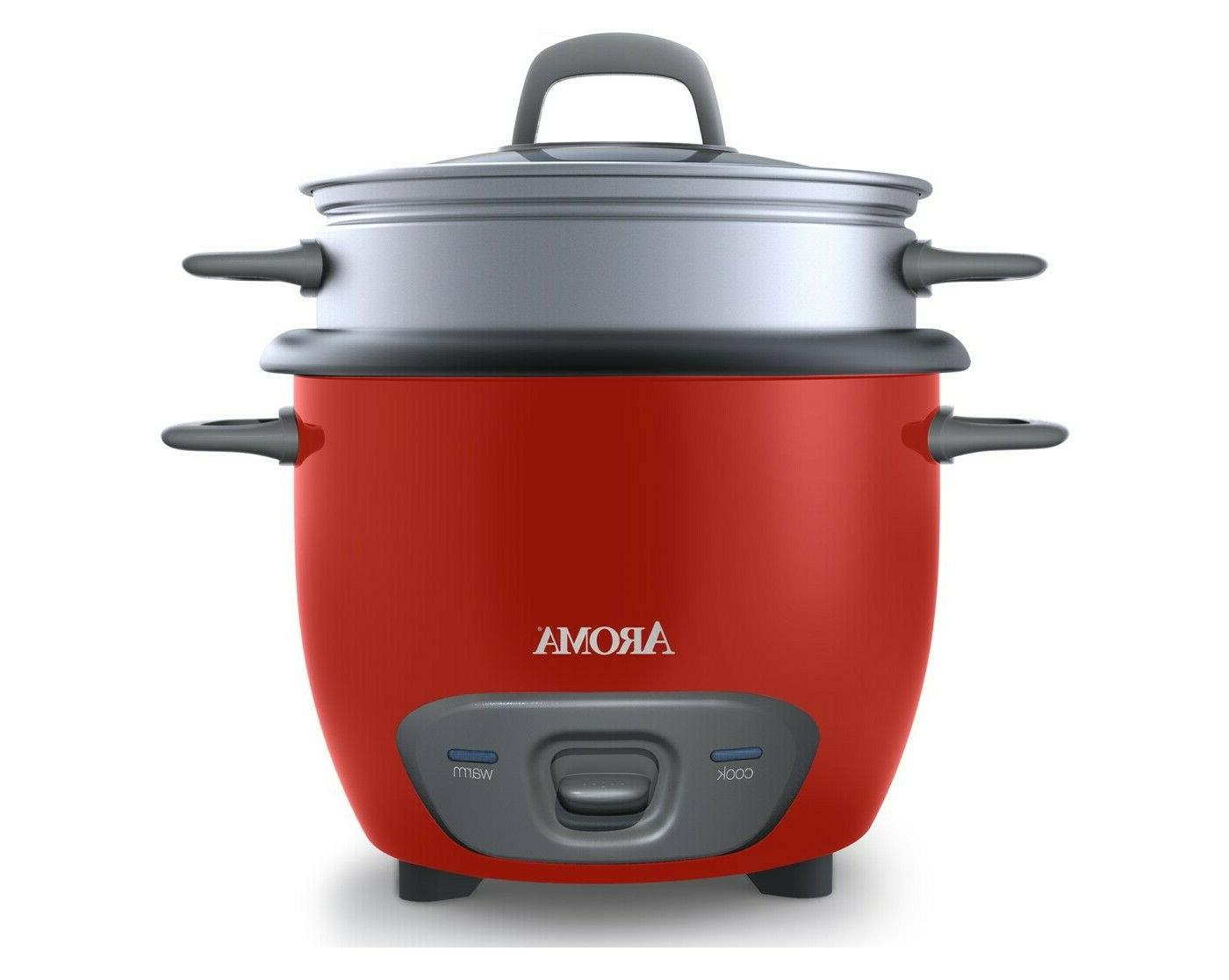 Aroma Pot-Style Rice Cooker and Food Steamer, 14-Cup, Red, 1