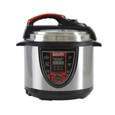 pressure cooker 5 qt digital red slow