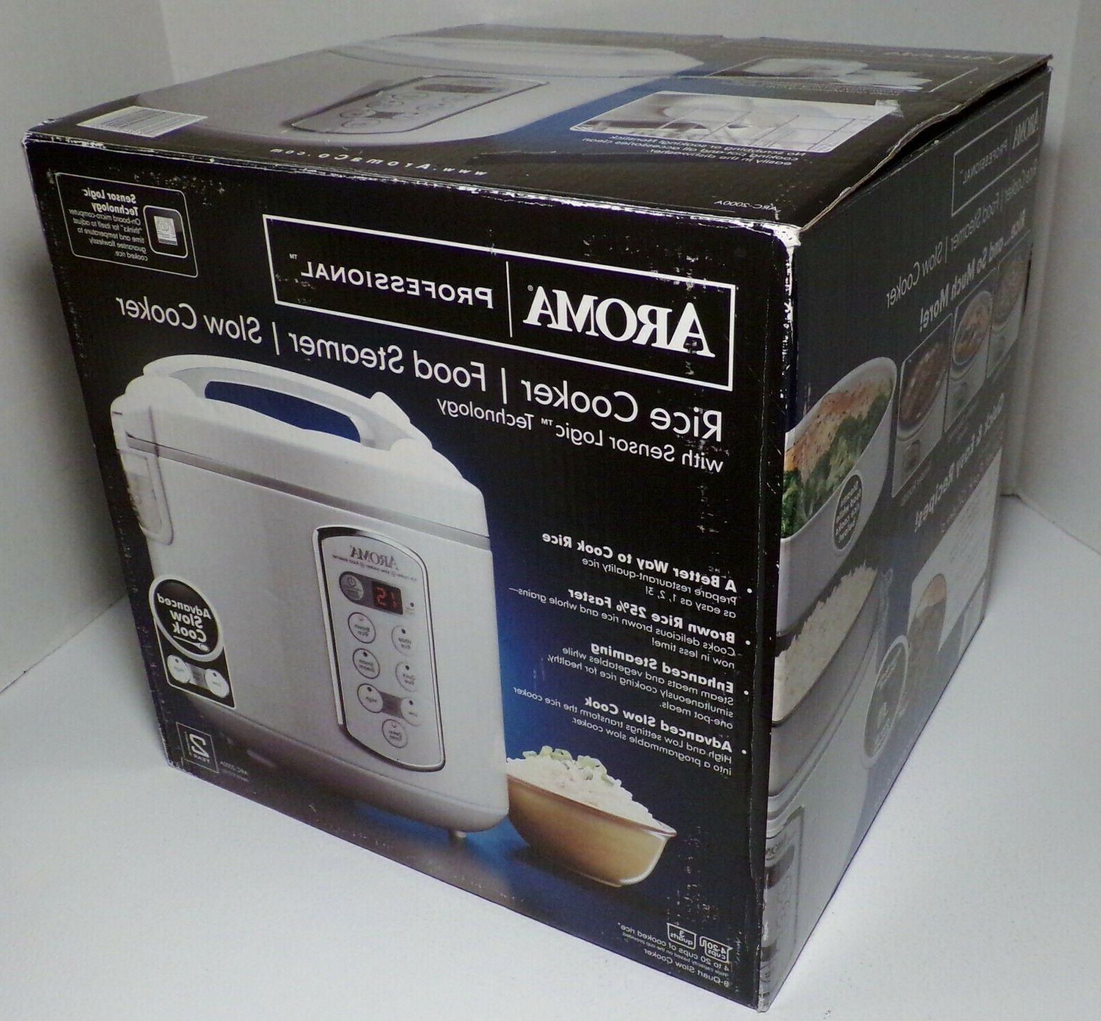 AROMA PROFESSIONAL Rice Cooker Slow Cooker Steamer 20 Cup Wh