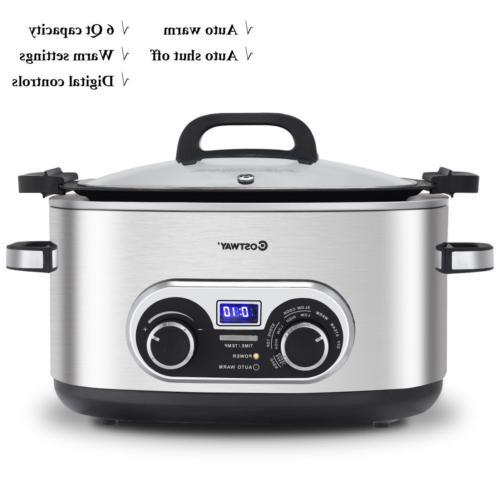 Quart Stainless Pot Slow Cooker Min to 12 4 110V