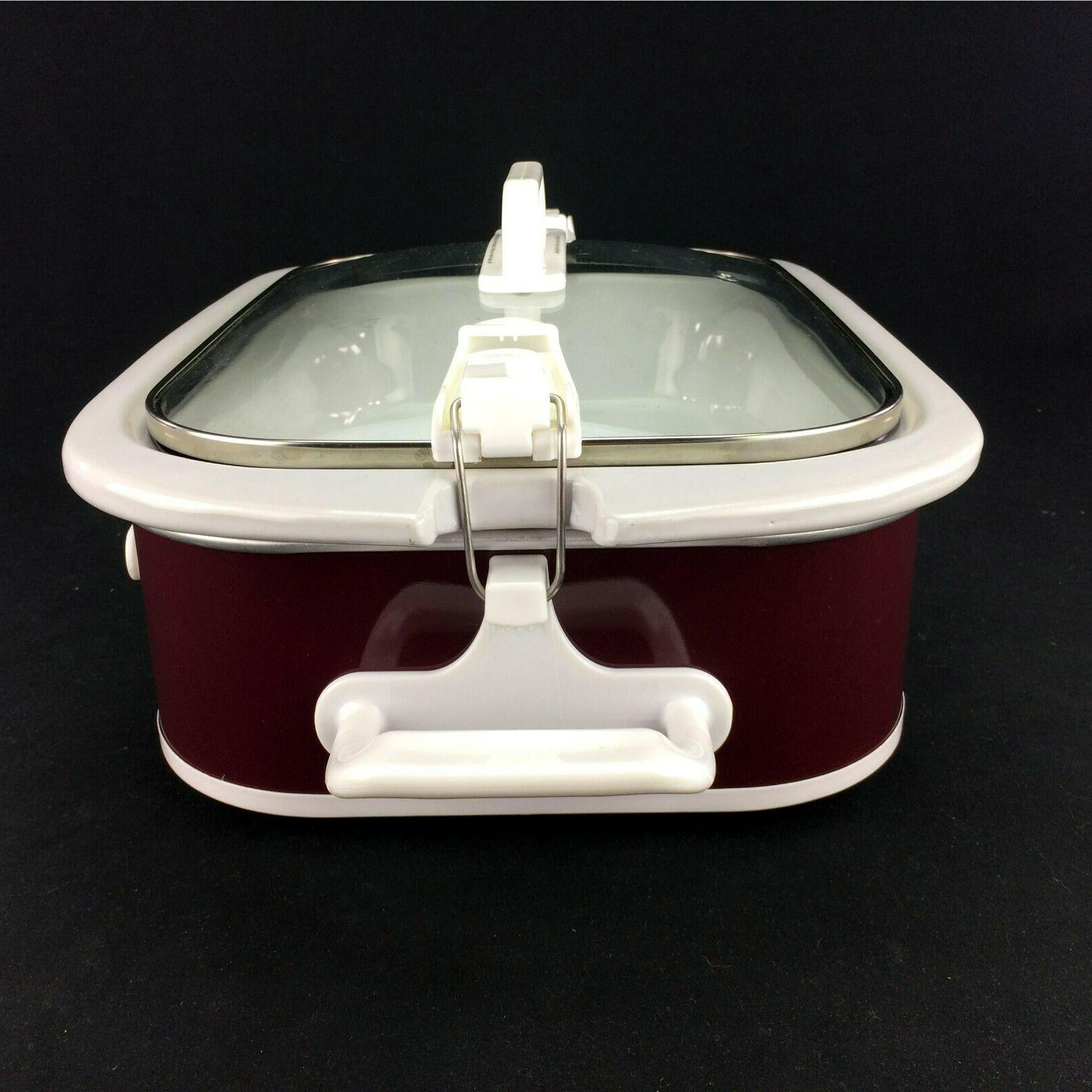 "Red Casserole And 3.5 Quart Slow 13"" Stoneware Dish"