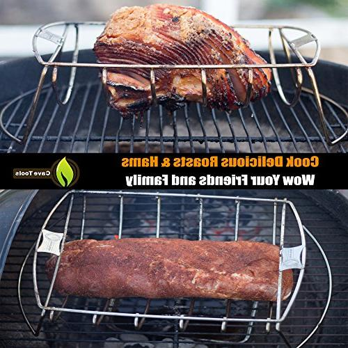 Cave Tools Roast BBQ Rack & Cooking Chicken Hams on or Charcoal Grill In Best Dishwasher Safe Stainless Steel for Barbecue
