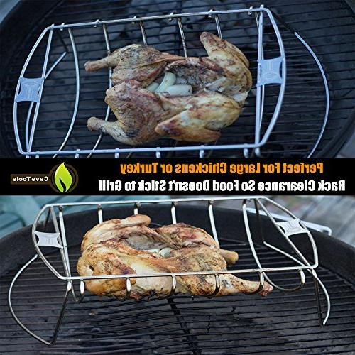 Cave BBQ Rack Roasting & Turkey Hams Charcoal Smoker In Dishwasher Safe for Barbecue Meat