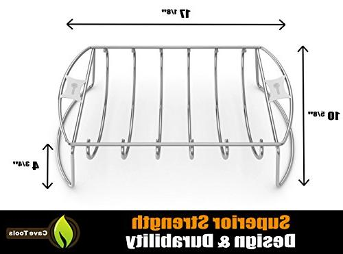 Cave BBQ Rack Roasting & Hams on Gas Charcoal Smoker or In Oven Dishwasher Safe Stainless for Barbecue Meat