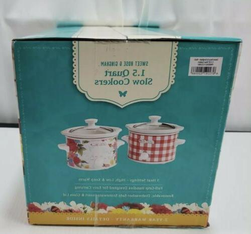 Pioneer Woman Rose & Red Slow Cookers 1.5QT 2Pack